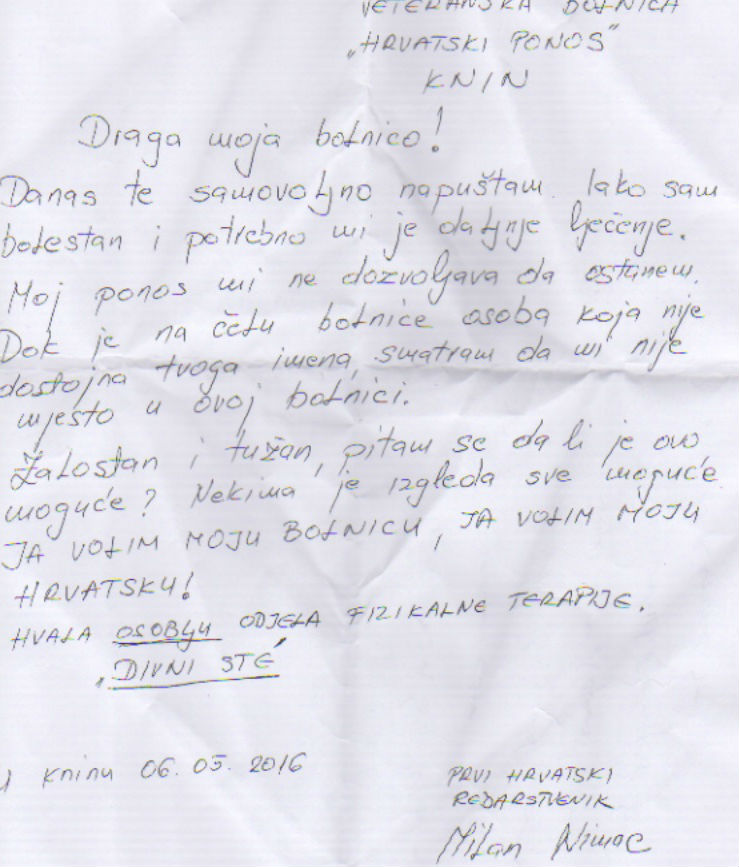 pismo bolnici